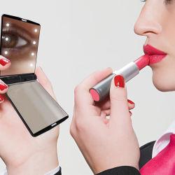 جيب اليد الجمال مرايا طي ماكياج تكبير تكبير 2X مرآة مزودة بمصابيح LED