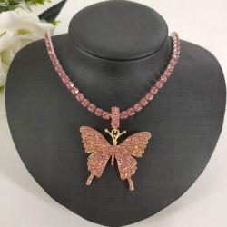 Juwelen van de Halsband van de Bergkristallen Hiphop van de Tegenhanger van de Halsband van de Vlinder van de Legering van de hoogste Kwaliteit de Gouden Zilveren Juwelen Bevroren