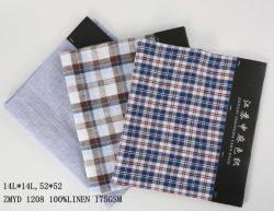 Zmyd 1208 de Zuivere Textiel van het Linnen van het Patroon van Chambray van de Lont van de Stof van het Linnen L14*L14 Garen Geverfte