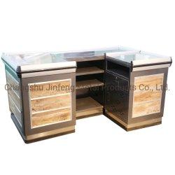 Supermercado de design a loja de conveniência Metal Contador de caixa em madeira