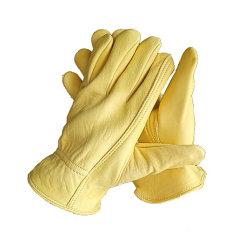 Sheepskin amarillo conductores elásticos Guantes de jardinería de equitación de soldadura
