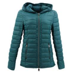 Frauen-Umhüllungen-spätester Entwurf plus Größen-wasserdichte Regen-Kleidungs-Hauben-Grün-Nylonbaumwolle aufgefüllte Mantel-chinesische Tradition für Winter