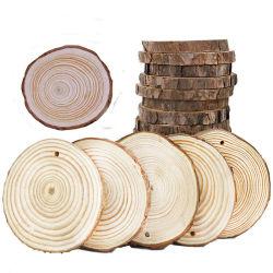 나무 둥근 조각 천연 소나무 껍질이 있는 조각 10인치 나무 조각들이 있는 중견품 DIY 공예