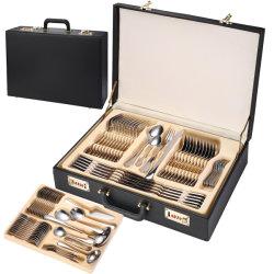 Conjunto de Golden Cutlery forquilha com faca e colher Eco Friendly Metal Conjunto de mesa de jantar Cozinha Acessórios Mala de couro Gift