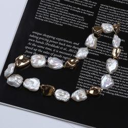 Diseño de cadenas grandes Keshi Blanco Barroco Collar de perlas preciosa joyería