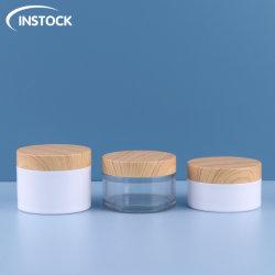 Confezione cosmetica doppio muro Cream vaso 80/100/120ml PET plastica di legno Bottiglie Crema viso corpo Skincare bottiglie per animali vasetti cosmetici
