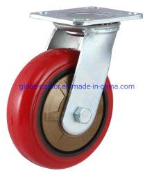 4 pulgadas - de 8 pulgadas de la placa giratoria PU en rueda de servicio pesado de hierro fundido