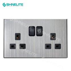 Hochwertiger Metall Edelstahl 13A Doppel elektrische Wandschalter Buchse