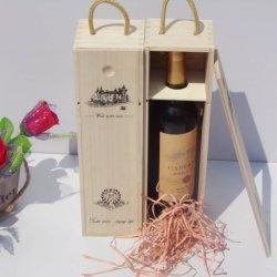 Red ganhar Retro Caixa de madeira requintado vinho tinto Caixa de Armazenamento Portable nenhum odor Cor Madeira Wine Caixa de arrumação Estojo com corda