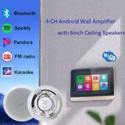 4 canal 25W Android WiFi amplificateur Home Cinéma avec haut-parleurs de plafond audio Bluetooth mur amplificateur pour contrôle de la musique de fond