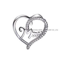 La Fête des mères cadeau Pendentif en argent de forme de coeur