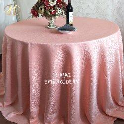 """120 """"円形のモモのピンクは宴会のためにリネンポリエステルテーブルクロスを食事するジャカードを設計する"""