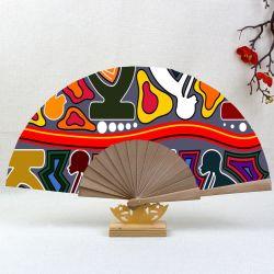 [Estou seus fãs]Mão personalizados de madeira Dobrável do Ventilador/Branco/ventiladores de bambu