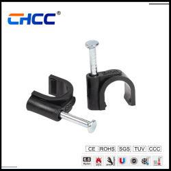 PE/PP circolare 8mm 9mm 10mm 12mm 94V-2 UL nylon plastico Clip per cavi piatti con chiodo in acciaio rotondo a parete