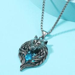다이아몬드 스터드가 박힌 빈티지 동물 늑대 헤드 펜던트 멘스 퍼스낼리티 목걸이