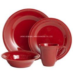 Runder Großhandelsnormallack flechten keramische Essgeschirr-Sets für Hochzeit