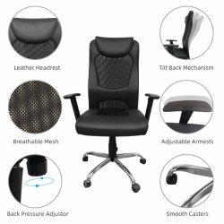 Malha de alta contrapressão Heonsit Cadeira de escritório - Tarefa secretária ergonómica cadeira executiva com cabeça de Couro acolchoado e assento, apoios de braço ajustável, Preto
