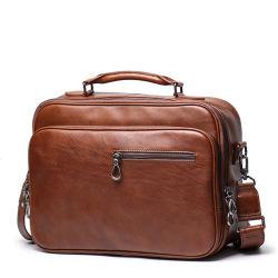 Cartella di cuoio reale del cuoio genuino del sacchetto del computer portatile del Brown dell'annata di qualità superiore di prezzi di fabbrica per gli uomini