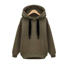 La importación de moda mayorista laterales sobredimensionados Zipper Hoody
