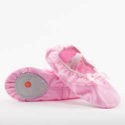 Mayorista de rosa en todo el mundo de la zapata de Ballet Ballet DE LONA lona zapatos de suela dividida Ballet zapatos planos