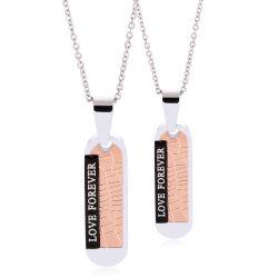 Couple de Bijoux en acier inoxydable de mode de l'amour Forever Pendentif carré