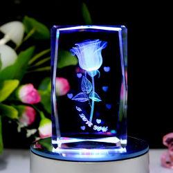 Kristallgeschenk mit drehen LED-helle Unterseite