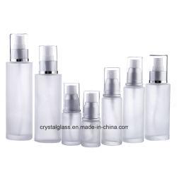 Kosmetische Lotion-Flasche des bereiften Glas-CT-69 mit silbernen Schutzkappen