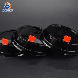 Commerce de gros bouchon en plastique noir populaire pour le lait thé tasse jetable de couvercle