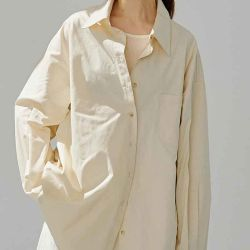 Atuendo de moda Volver Fold-Over apiladas silueta delgada Blusa camisa sólida para las mujeres de lujo el algodón