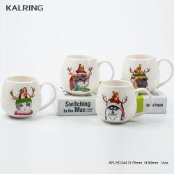 Cena de Navidad de color rojo con taza y taza y plato con hueso nuevo material de China con la personalización de diseño de animales
