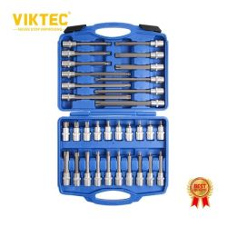"""Utensile manuale facile da usare Viktec CE 32PCS cricchetto con attacco da 1/2"""" Attrezzo di riparazione set di punte Torx esagonali e chiavi a bussola Kit"""