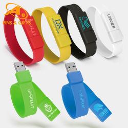 패셔너블한 최고급 방수 USB 플래시 드라이브 손목 밴드 실리콘 고무 PVC Ruler Snap Bracelet 반사형 성인용 키즈 러닝 스포츠