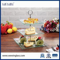Piatto della torta del piatto della frutta del piatto di dessert della lastra di vetro del mestiere delle 3 file