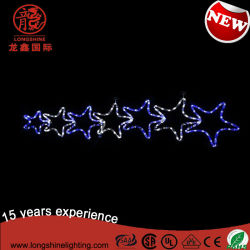 Siete Estrellas Twinking LED azul de la cuerda de la luz de Motif decoración navideña para la iluminación de exteriores