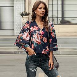 Estanla Chiffon- der gedruckten Ineinander greifen-Entwurfs-Kurzschluss-Hülse V-Stutzen Pullover-Dame-Oberseite Hemd-Frauen