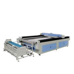 레이저 절단 작업 및 CO2 레이저 유형 자동 급지 60W/80W/100W 듀얼 헤드 패브릭 레이저 직물 커터