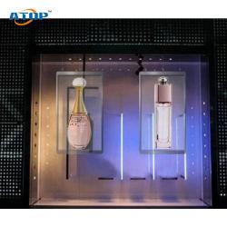 P3.91 (500X1000mm) 실내와 옥외 투명한 유리 발광 다이오드 표시 창문 광고 스크린 높은 Definiation 단계 LED 투명한 전시