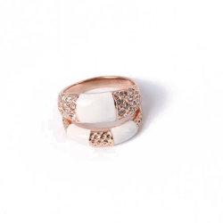 Gostavas de jóias de ouro com anel de galvanização Rhinestone branco