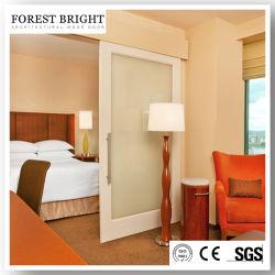 Marriott pintado de blanco de la puerta corrediza de vidrio laminado granero estilo para el cuarto de baño de la puerta de entrada