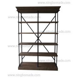 Französische klassische provinzielle Weinlese-Möbel-natürliches zurückgefordertes Tannen-Holz mit schwarzem Eisen-Metalldoppelt-Regal