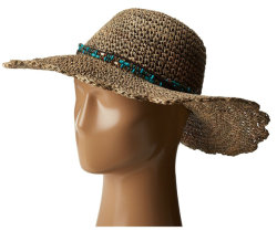 わらのビードが付いているフロッピー縁のかぎ針編みのSeagrassの帽子の革Hatband