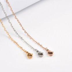 Accessoires de mode en or plaqué or rose forme de coeur de la chaîne en acier inoxydable de bijoux pour collier personnalisé