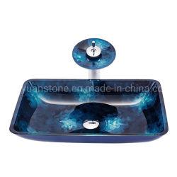Salle de bain haut bassin de verre rectangulaire