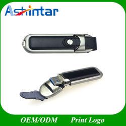 محرك أقراص USB محمول معدني USB3.0 PU Memory Flash Drive Leather ذاكرة USB