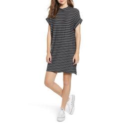 Rayas de manga corta señoras Deporte Gimnasio zapatilla T-shirt Vestido