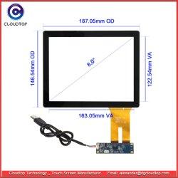 8 pollici hanno proiettato lo schermo di tocco capacitivo (G+G, 4:3, interfaccia del USB) per le multi visualizzazioni di tocco