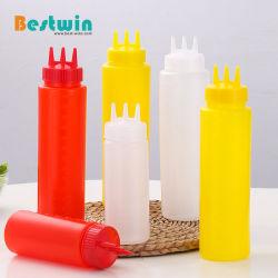 Bottiglia di plastica di compressione della bottiglia del condimento dei tre dei fori rifornimenti di servizio d'alimentazione per il ketchup della salsa