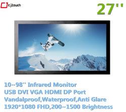 적외선 IR 27인치 대화형 멀티미디어 오디오 USB HDMI DP 산업용 실내 방수 Anti Glare 터치 모니터