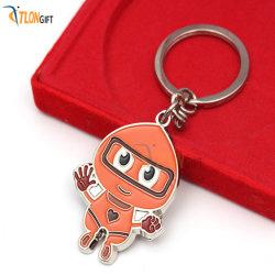 Mignon dessin animé de Orange des raccords métalliques PVC Chaîne de clé
