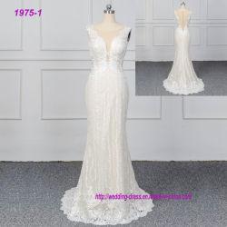 Une ligne Champange Overlace gaine de couleur de robe de mariée de haute qualité